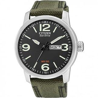 Citizen BM8470-11EE – Reloj analógico de Cuarzo para Hombre, Correa de Nailon Color Verde