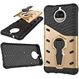 CELZO Sniper 360 Degree Back With Kick Stand Back Cover Case For Moto G5s Plus {5.5Inches} - (Gold)