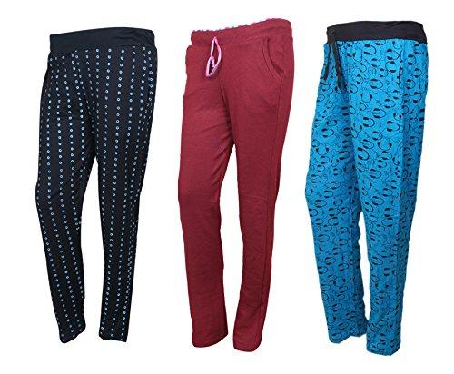 IndiWeaves Cotton Lower/Track Pants/Pyjama for Women(Pack of 3)_Black/Maroon/Firozi_Size-Medium_73200-131424-IW-P3-M