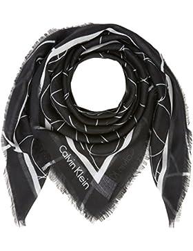 Calvin Klein Damen Halstuch Artisan Logo Scarf, Schwarz (Black 001), One Size (Herstellergröße: OS)