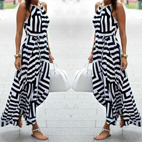 WOCACHI Damen Sommer Kleider Mode Frauen reizvolle ärmellos unregelmäßige gestreiftes Muster Boho Maxi langer Abend Party Strand Kleid Schwarz