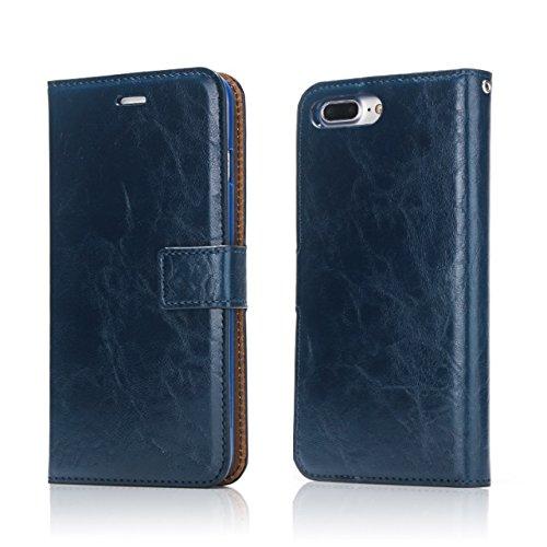 EKINHUI Case Cover Verrückte Pferd Textur Abnehmbare Design PU Leder Geldbörse Tasche Tasche mit Kartensteckplätzen für iPhone 7 Plus ( Color : White ) Blue