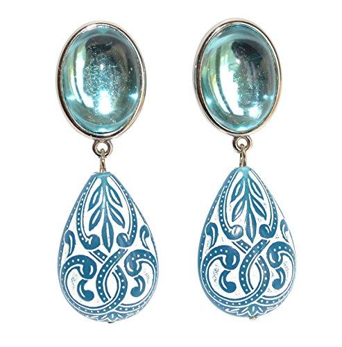 Sehr leichte große Ohr-Clips silber-farben Stein hell-blau Anhänger blau-weiß tropfen-förmig Ornamente Statement Fashion Designer JUSTWIN