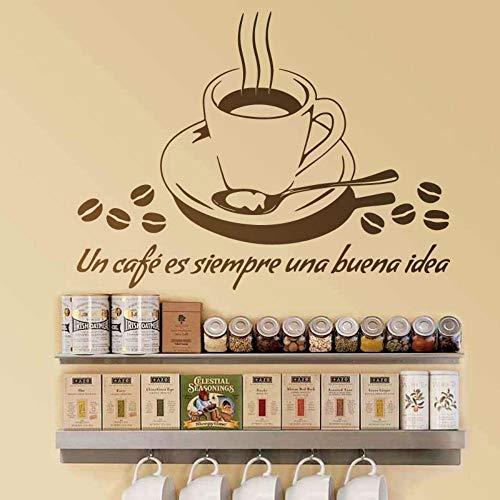 JJHR WandtattoosWandbilder Zitate Un Cafe Es Siempre Una Buena Idee Wandtattoo Cut Aufkleber Für Café Bar Diy 76 * 55 Cm
