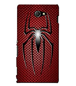 Blue Throat a black spider on a red background Back Case Cover for Sony Xperia M2 Dual :: Sony Xperia M2 Dual D2302