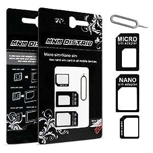 MNM DISTRIB Adaptateur Carte SIM Micro Nano ET Standard Noir 3 en 1 avec EJECTEUR Carte SIM Universel Tous Telephone Toutes Marques