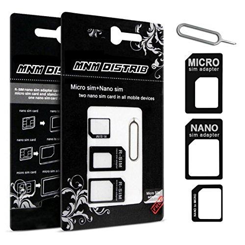 MNM DISTRIB Adaptateur Carte SIM Micro Nano ET Standard Noir 3 en 1 avec EJECTEUR Carte SIM Tous Telephone Apple, Samsung, Sony, WIKO, HTC, Nokia, ASUS
