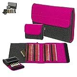 ebos Premium Set-Taschenapotheke | handgefertigte Globulitasche aus echtem 100% Wollfilz | 64 Schlaufen + 6 Schlaufen für Röhrchen | Globuli-Etui zur Aufbewahrung homöopathischer Mittel | pink