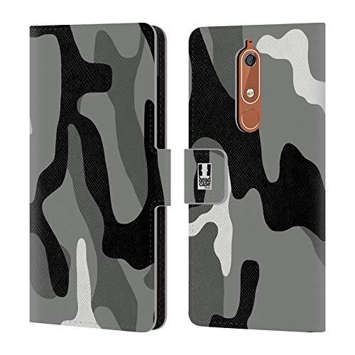 Head Case Designs Night Shift Militärische Tarnfarben Brieftasche Handyhülle aus Leder für Nokia 5.1