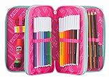 ASTUCCIO scuola SEVEN - COLORFUL GIRL - 3 scomparti - pennarelli matite gomma ecc.. Rosa Azzurro