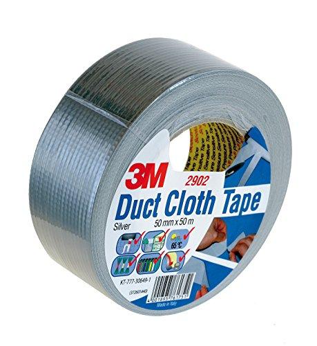 3M 7000096165 Gewebeklebeband, 2902, 50 mm x 50 m, 0,21 mm, Silber (24-er Pack)