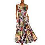 Tohole Damen Strandkleider Türkischer Stil Boho Lose Tunika Lange Sommerkleider Shirt Strandhemd Kleid Urlaub Vintage unregelmäßiges Kleid(Mehrfarbig-A,3XL)