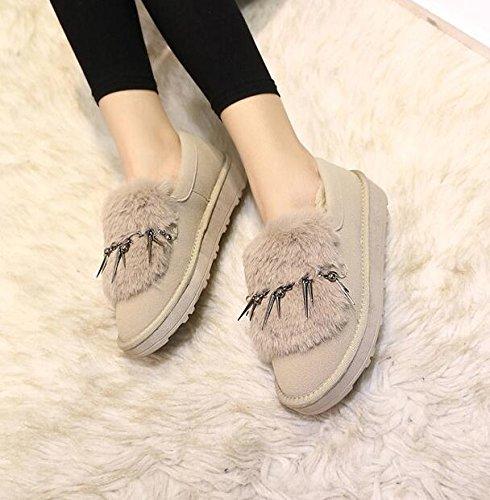 ZZHH Slip Duantong épaisse bottes de neige en peluche mat chaussures plates Khaki