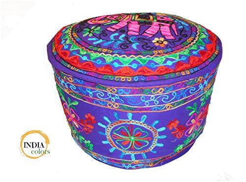India colors Puff cojín Funda Bordado Artesanal Hecho a Mano en India. Violeta