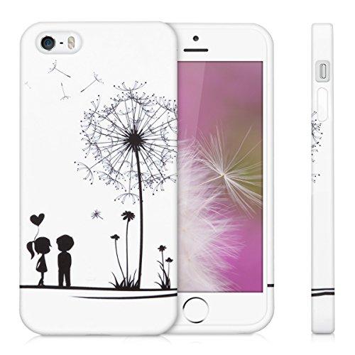kwmobile ÉTUI EN TPU silicone pour Apple iPhone SE / 5 / 5S Design Don't touch my phone blanc noir. Étui design très stylé en TPU souple de qualité supérieure pissenlit amour noir blanc