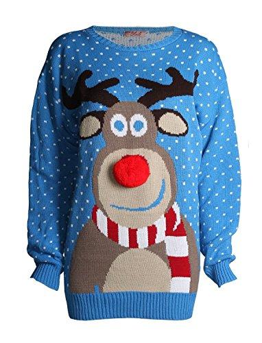 FK Styles Unisex Weihnachtspullover Rudolph Drucken 3D Nase Pom (Rudolph Nase)