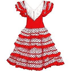 Vestido Flamenco Disfraz Sevillana, Traje de Andaluza la Señorita, Carnaval, Bailar Flamenca para Niñas y Mujer- con Lunares Negros y Blancos (Blanco, 10 Años)