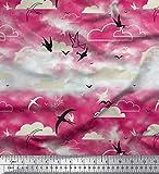 Soimoi Rosa Samt Stoff Wolken & Fliegen Swift Vogel Stoff