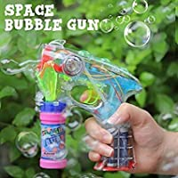 WESHOP'S Bubble Gun with Light & Music (1 Bubble Gun + 100 ml Liquid Solution, Multi Color)