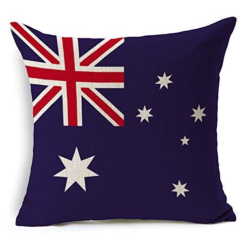 Country Flaggen quadratisch Baumwolle Leinen Sofa Kissen Deko Kissen 45,7x 45,7cm Reißverschluss Überwurf,, baumwolle, australien, 18 x 18 inches