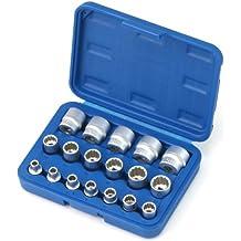 XZN juego de llaves de vaso adaptador 3/8pulgadas, 6–24mm 18piezas