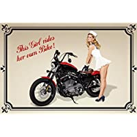 Motociclista Pin Up Girl Motiv 2 Placa de Metal Cartel de lata 20 x 30cm