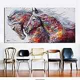 Cyalla Due Cavalli in Corsa Arte della Parete Dipinti su Tela per Soggiorno Poster Stampe Graffiti Art Quadri Decorativi con Cornice 60X120Cm