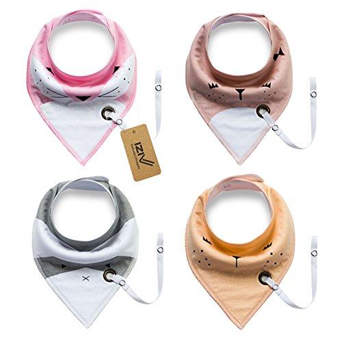 iZiv 4er Set Baby Bandana Geifer Lätzchen mit Justierbarem Druckknöpfen Schnuller Clip, Wasserdichte Baumwolle Auskleidung für 0-2 Jahre (Farbe-1)