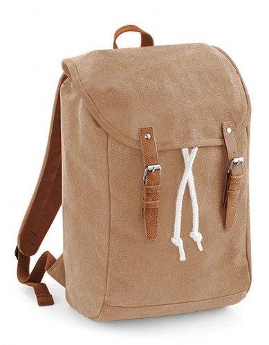 Vintage Laptop & Tablett Backpack Rucksack Baumwoll-Canvas beige (T-shirt Canvas-baumwolle)