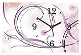 LAUTLOSE Designer Tischuhr Blumen Abstrakt weiß lila bunt Standuhr modern Dekoschild Bild 30 x 20cm