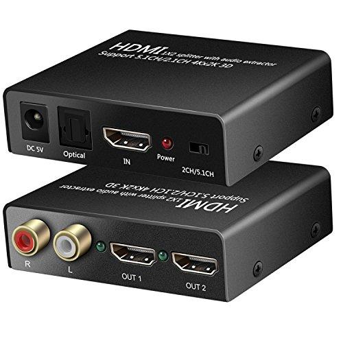 4K HDMI Splitter 1x 2mit HDMI Audio Extractor + optische und R/L Audio Output Stromversorgung Splitter 1in 2out Signal Verteiler unterstützt 3D 4Kx2K für Apple TV PS4Xbox One DVD Blu-ray Player HD TV Projektor - Ton-splitter