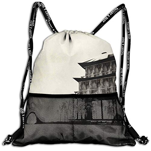 TKMSH Drawstring Backpacks Bags,Ink Painting Style Landscape of Far Eastern Country Traditional House and Nature,5 Liter Capacity,Adjustable