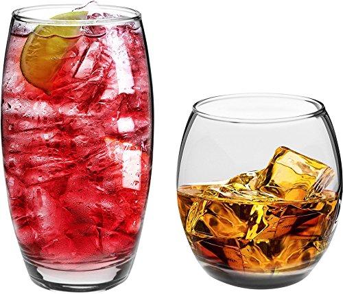 Argon Tableware Tondo - Longdrink- und Trinkgläser für den täglichen Gebrauch - 510 ml & 405 ml - 12 Stück