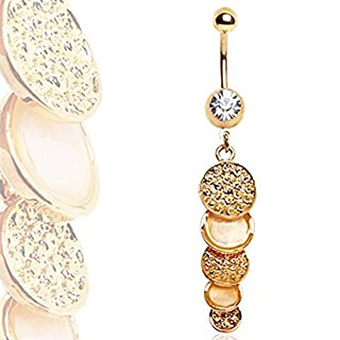 Clear Crystal Gold Plated Cascading Gold & Pearl Effect Discs Dangle Belly Bar Navel Ring