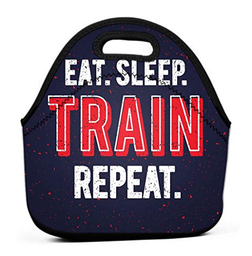 Lunch Tote Bag Cute Lunch Box Lunchbox Large Reusable Lunch Bag eat sleep train repeat motivational inspirational workout quote grunge effect gym poster cool