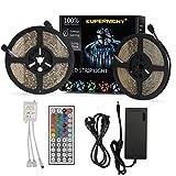 LED Lichtband SUPERNIGHT RGB Kit 3528 SMD LED Streifen Wasserdicht 10M(2 * 5M) 300LEDs Stripes Lichtleiste, 44 Tasten IR Fernbedienung + DC 12V 5A Netzteiladapter für die Inneneinrichtung