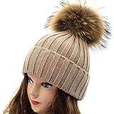 SEWORLD Heißer Einzigartiges Design Mode Damen Waschbär Pompom Cap Frauen Winter Crochet Hut Strickmütze Raccoon Warme Kappe(Khaki)