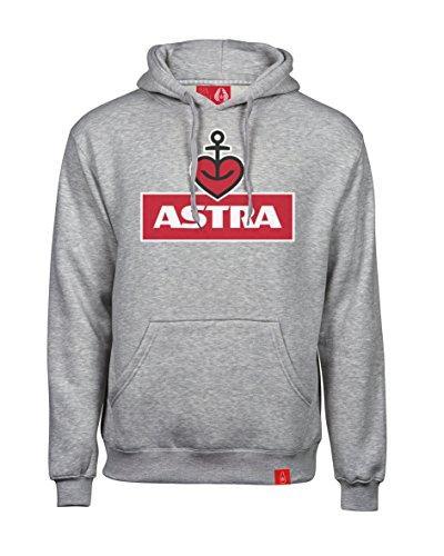 ASTRA Hoodie Herzanker Unisex Größe L, bequemer Pullover mit Kapuze, cooler Kapuzen-Pulli mit Aufdruck, für Damen & Herren, grauer Sweater aus St.Pauli