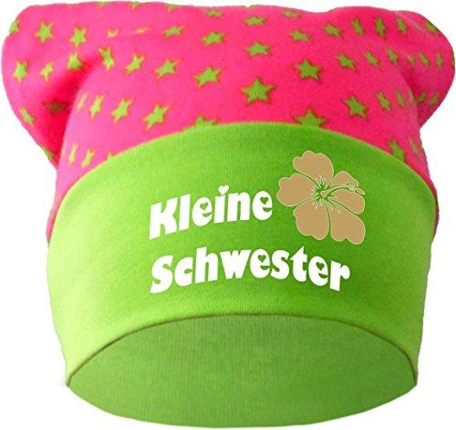 Baby KOPFTUCH Mütze (Farbe pink-lime) (Gr. 1 (56-74) Kleine Schwester /FAT