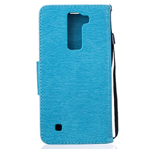 LG K10Fall [mit Tempered Glas Displayschutzfolie], fatcatparadise (TM) Anti Scratch Flip Soft Silikon Back Cover Case, elegante gepresst Cute Bear Muster Vintage Design Flip Folio Magnetic Premium PU blau