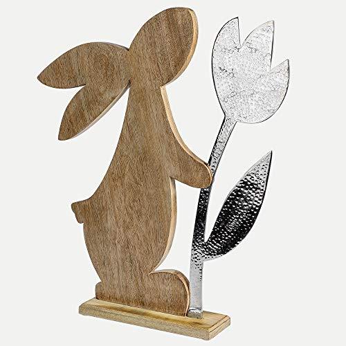 Formano Deko-Hase mit Blume aus Mangoholz und Alu, Länge: 50 cm, Breite: 10 cm, Höhe: 65 cm, Braun-Silber, 1 Stück