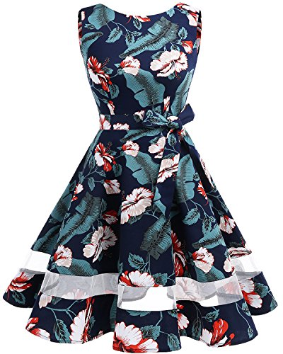 Bridesmay 50s Retro Vintage Rockabilly Kleid Knielang Partykleider Cocktailkleider Navy Flower 3XL