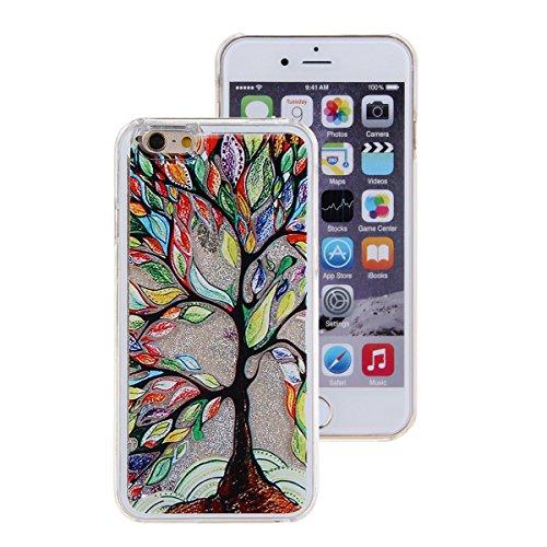 Voguecase® Pour Apple iPhone 4 4G 4S, Argent-sable Luxe Flowing Bling Glitter Sparkles Quicksand et les étoiles Hard Case étui Housse Etui(pissenlit 12/Argent) de Gratuit stylet l'écran aléatoire univ Un grand arbre coloré/Argent