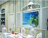 Azul y rayas verticales blancas de papel pintado sala de pintado no tejida fondo de los niños Papel pintado rosado del dormitorio sala de estar TV type 2
