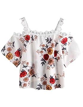 FAMILIZO Mujeres De Manga Corta De Encaje De Hombro Blusa Floral Top Casual T-Shirt Camisetas