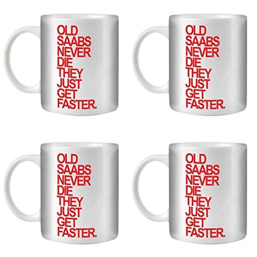 STUFF4 Tee/Kaffee Becher 350ml/4 Pack Saab/Red Text/Alte Autos/Weißkeramik/ST10
