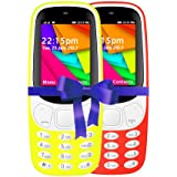 I KALL 2.4 Inch Display Dual Sim Mobile Combo With Feature Of Wireless FM, Bluetooth, GPRS, 1800 Mah Battery Capacity - K35 (Yellow& Red)