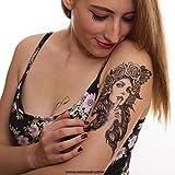 1 x Frau Rose Tränen Vogel - schwarzes einmal temporäres Tattoo in XL - HB-814 (1)