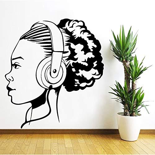 Musik Mädchen Wandaufkleber Dekoration Zubehör Selbstklebende Wandaufkleber für Wohnzimmer Schlafzimmer DIY Vinyl Wandkunst Aufkleber XL 58 cm X 64 cm
