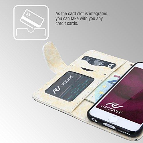 Urcover® Apple iPhone 6 Plus / 6s Plus Handy Schutz-Hülle | Lotus Pattern Wallet Schwarz | Kartenfach & Standfunktion | Flip Case | Trendy Tasche | Cover Schale | Smartphone Zubehör Weiß